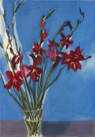 Gladiolas with Blue Background